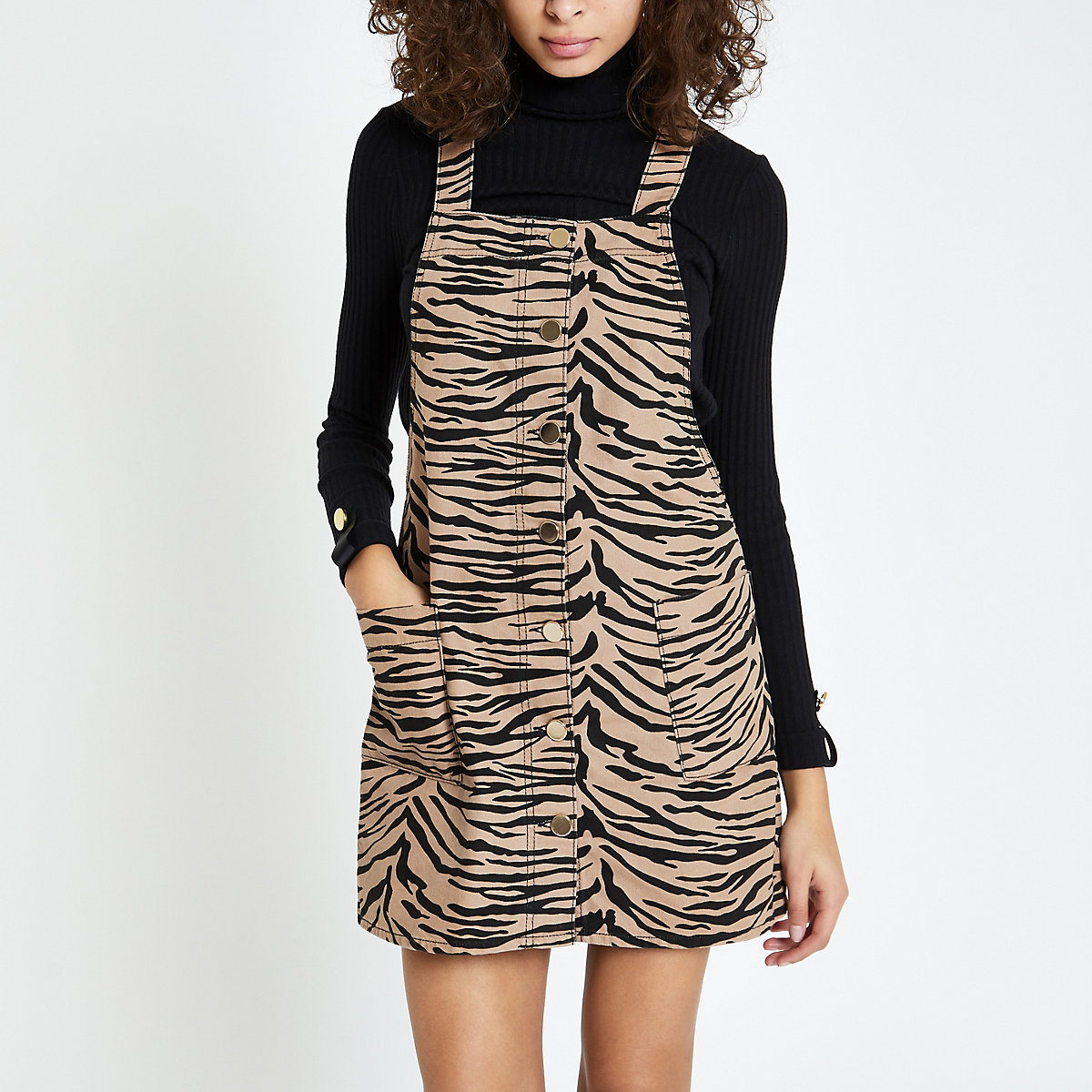 Brown zebra print overall dress