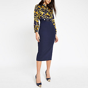 Navy chain print high neck dress