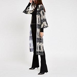Grey plisse snake print kimono duster jacket