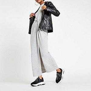 Grey twist front maxi dress