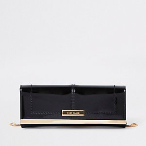 Black patent mini clutch bag