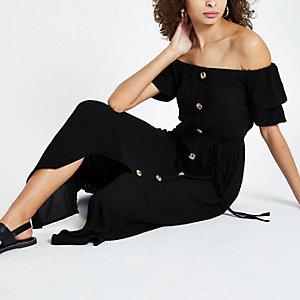 Robe Bardot maxi noire boutonnée sur le devant