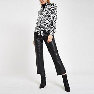 White zebra print tie front shirt