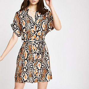 Black snake print tie waist shirt dress
