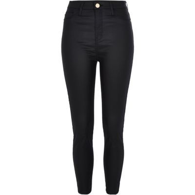 Petite Black Harper Coated High Rise Jeans by River Island