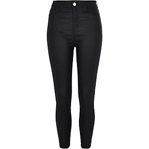 Petite black Harper coated high rise jeans