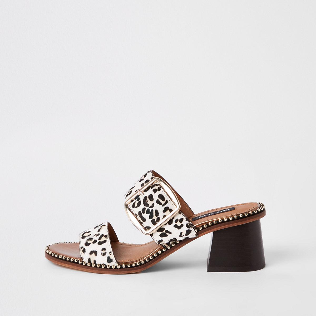 White leather leopard print block heel mules