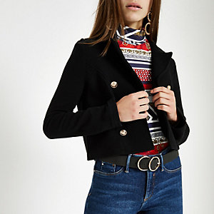 Petite black button jersey cropped blazer
