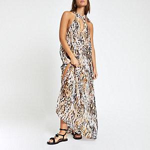 Weißes, verziertes Strandkleid mit Animal-Print