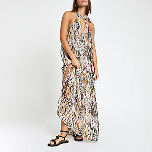 White animal print embellished beach dress
