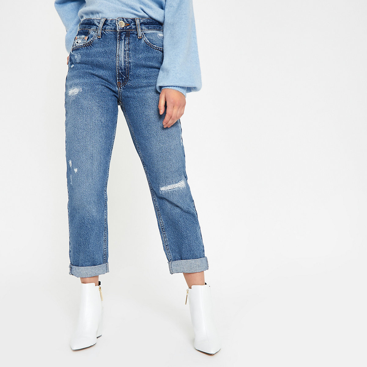 Petite mid blue high rise mom jeans