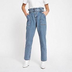 Petite – Blaue Paperbag-Jeans