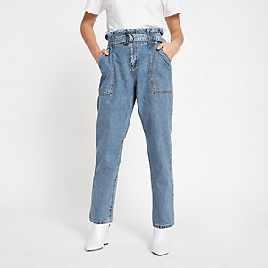 RI Petite - Blauwe denim jeans met geplooide taille