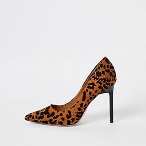 Escarpins marron à imprimé léopard