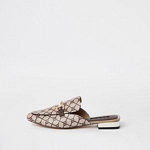 Braune Loafer mit RI-Monogramm