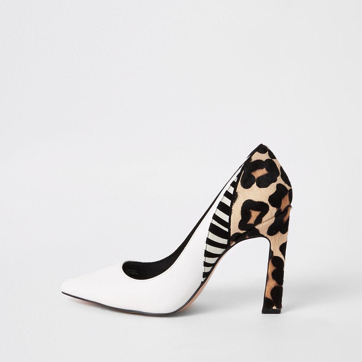White animal print spliced heel pumps