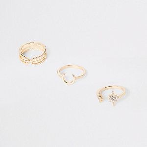 Gold tone rhinestone horseshoe ring pack