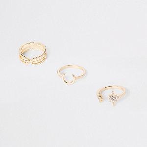 Set goudkleurige hoefijzervormige ringen met siersteentjes