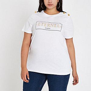 Plus white 'Eternal' button shoulder T-shirt