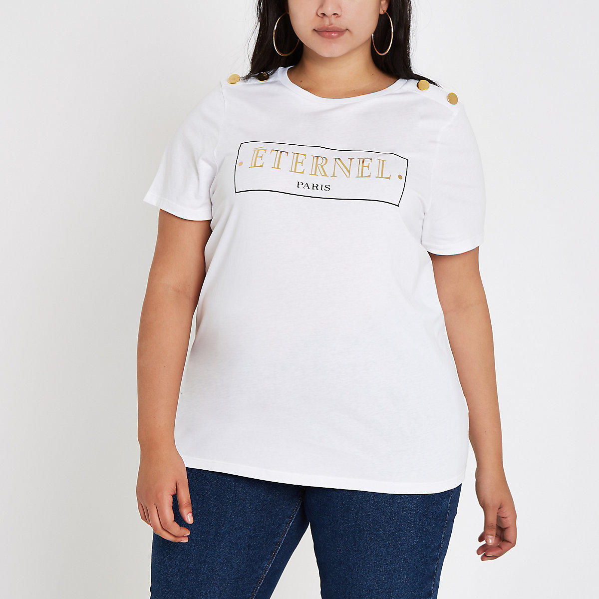 Plus white 'Eternal' button shoulder T-shirt