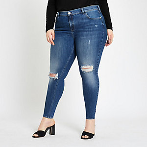 Plus – Amelie – Dunkelblaue Jeans im Used-Look