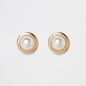 Gold color large pearl stud earrings