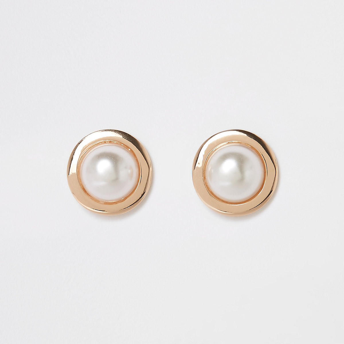 Gold colour large pearl stud earrings