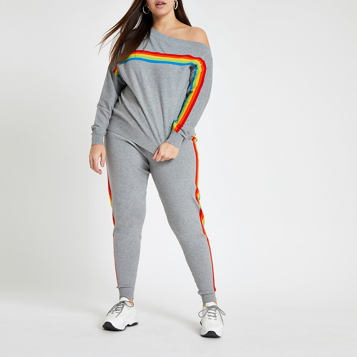 Plus grey rainbow side stripe knitted jogger