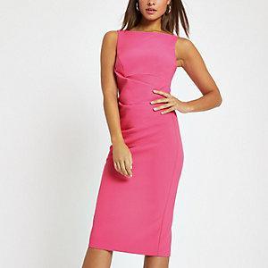Bright pink bodycon midi dress