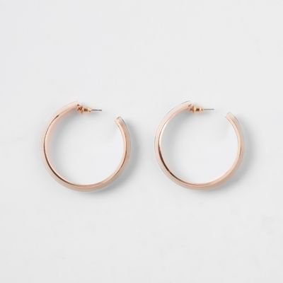 Rose Gold Colour Leopard Print Hoop Earrings by River Island
