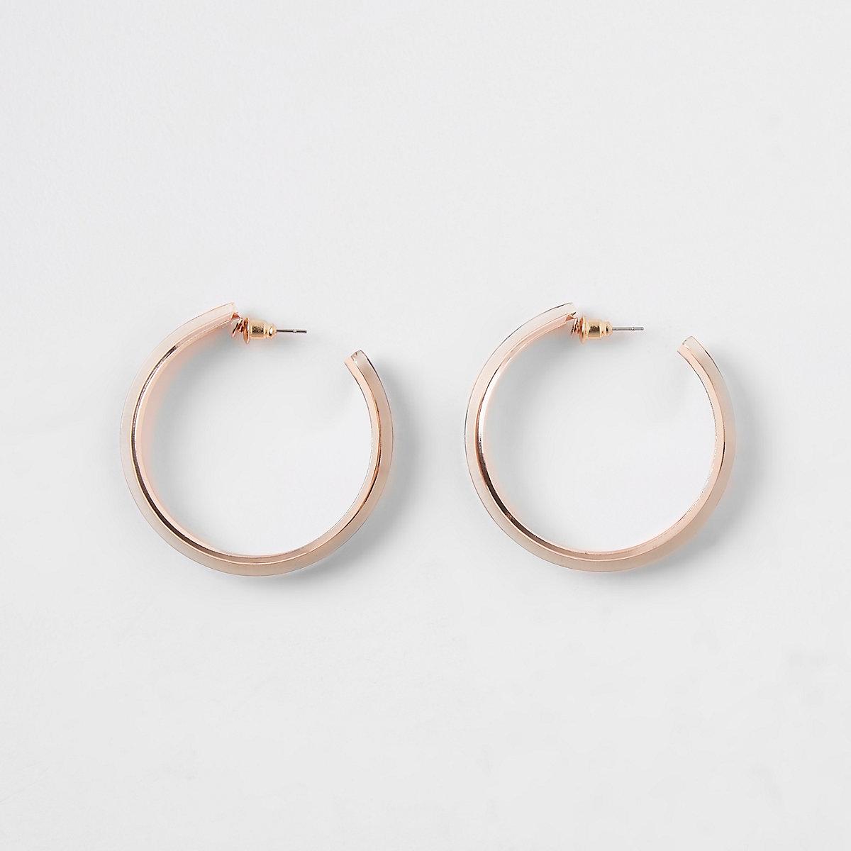 Rose gold color leopard print hoop earrings