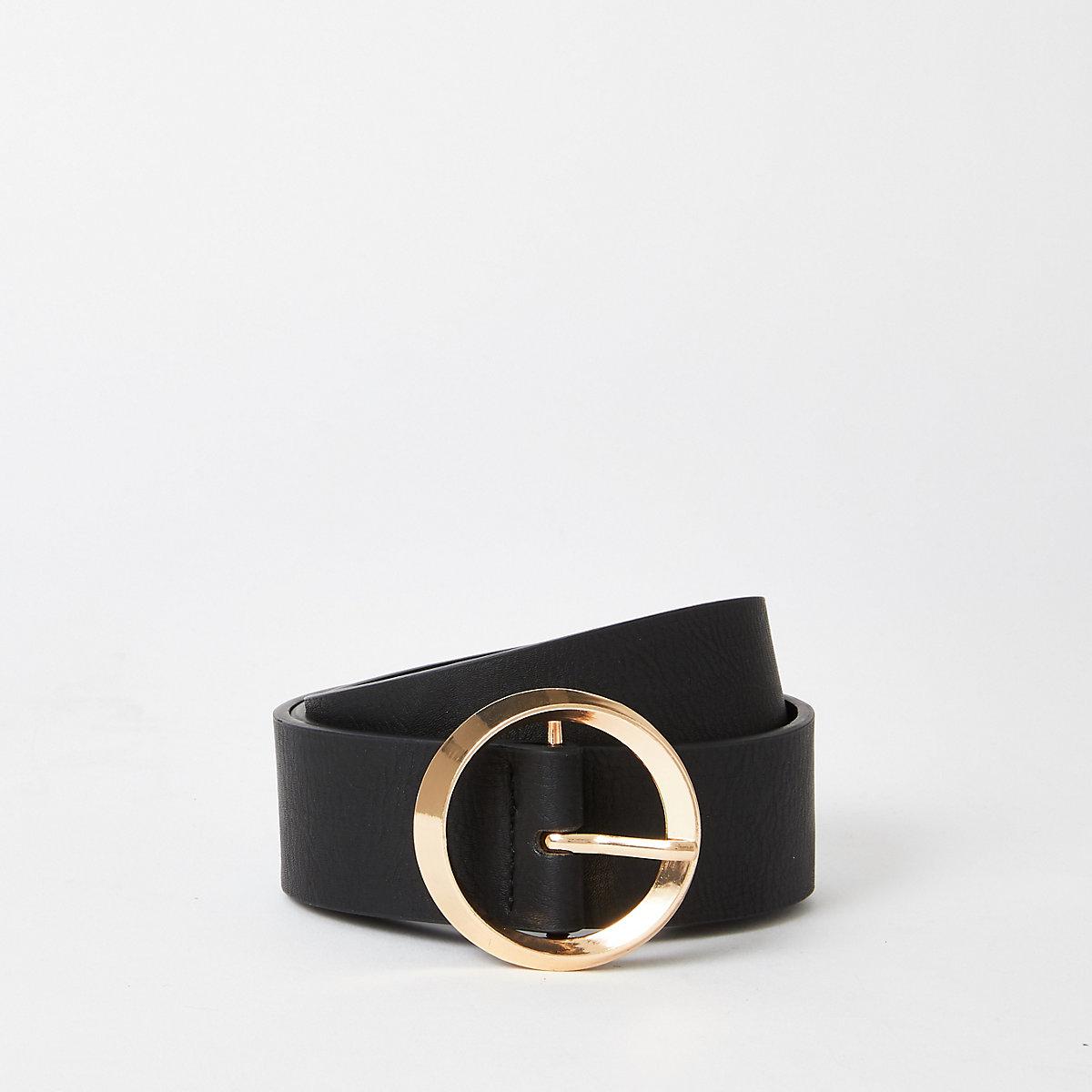 Black gold tone circle ring belt