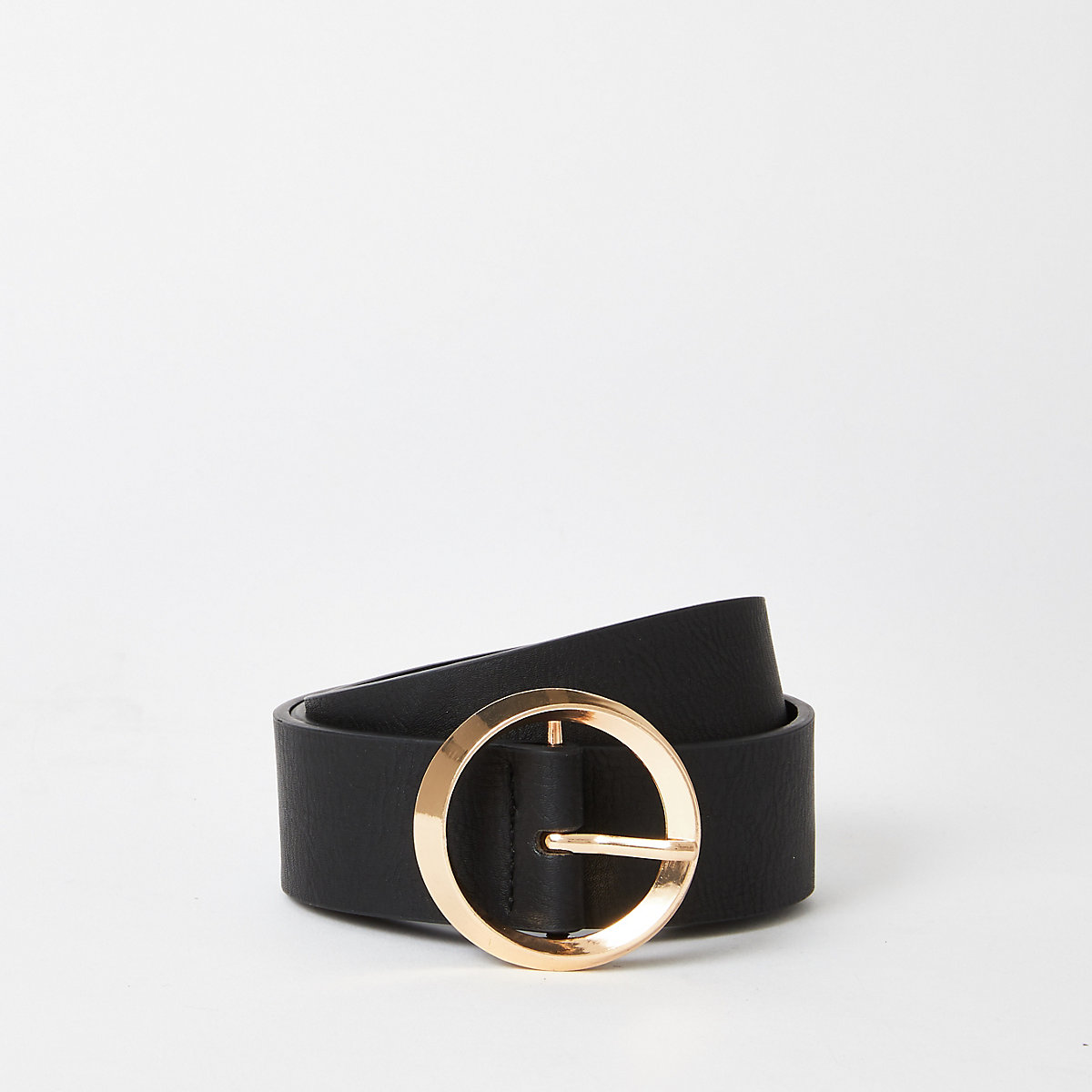 Black gold tone circle ring belt