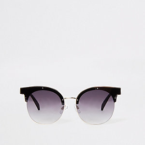 Brown half frame glam sunglasses