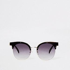 Bruine glamoureuze zonnebril met half montuur