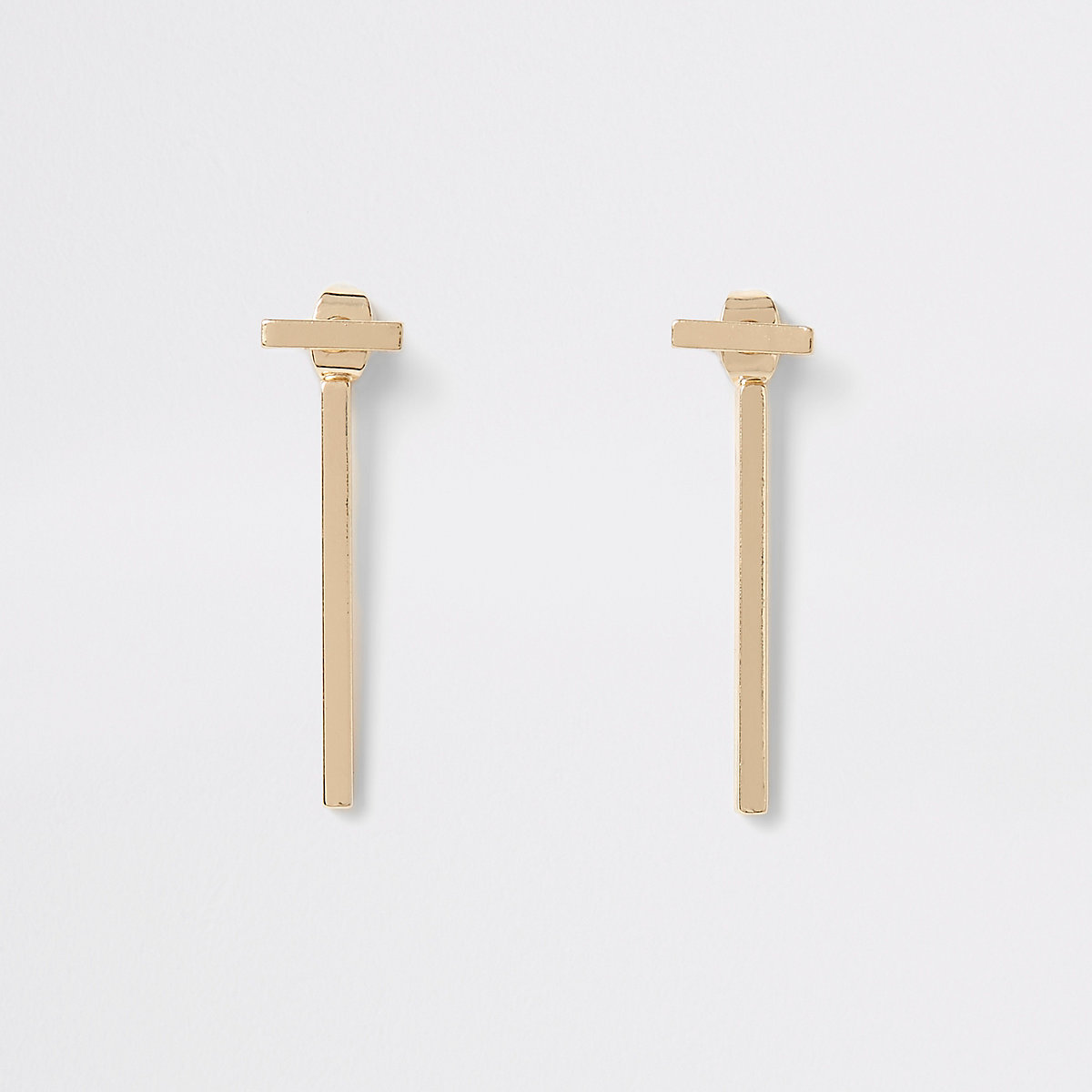 Gold colour T-bar front and back earrings