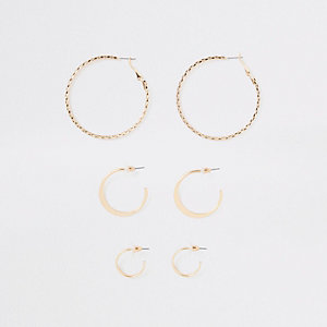 Gold tone mixed size hoop earrings pack
