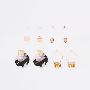 Gold color tortoise shell earring multipack