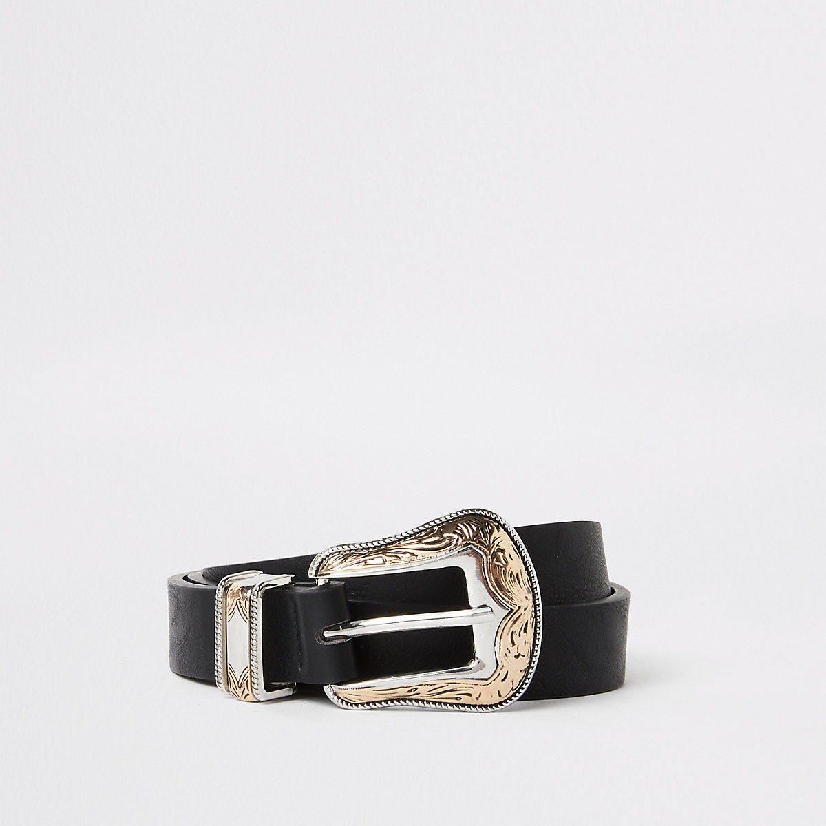 Black western style two-toned buckle belt