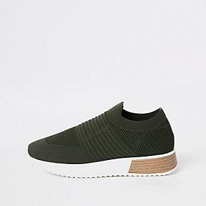 Kaki gebreide sneakers