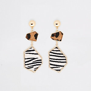 Gold tone animal print diamante drop earring