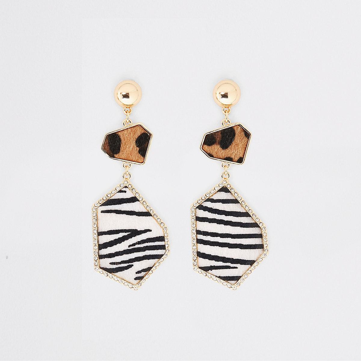 Gold tone animal print rhinestone drop earring