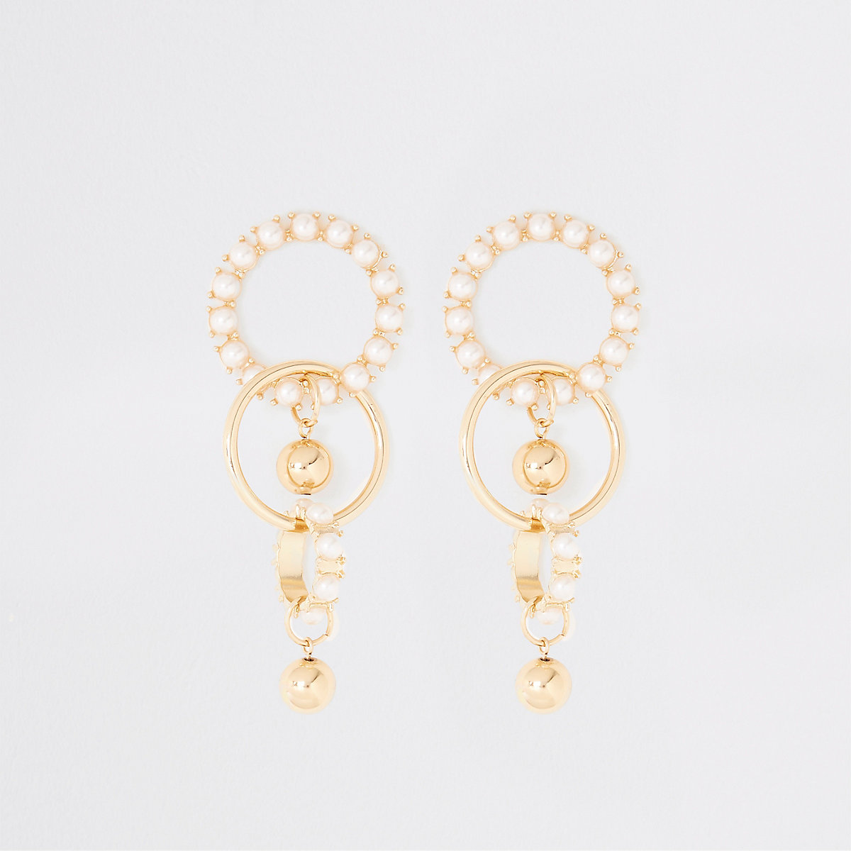 Gold colour chunky pearl drop earrings