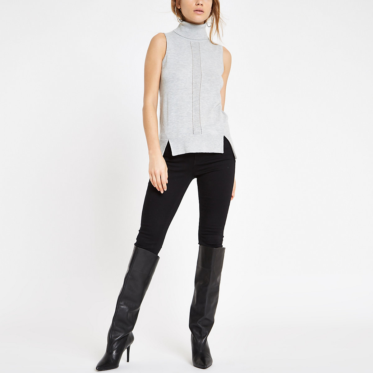 Grey roll neck sleeveless top