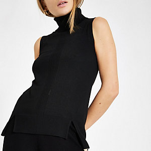 Black roll neck sleeveless top