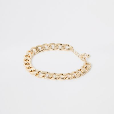 Gold Tone Chunky Curb Chain Anklet by River Island