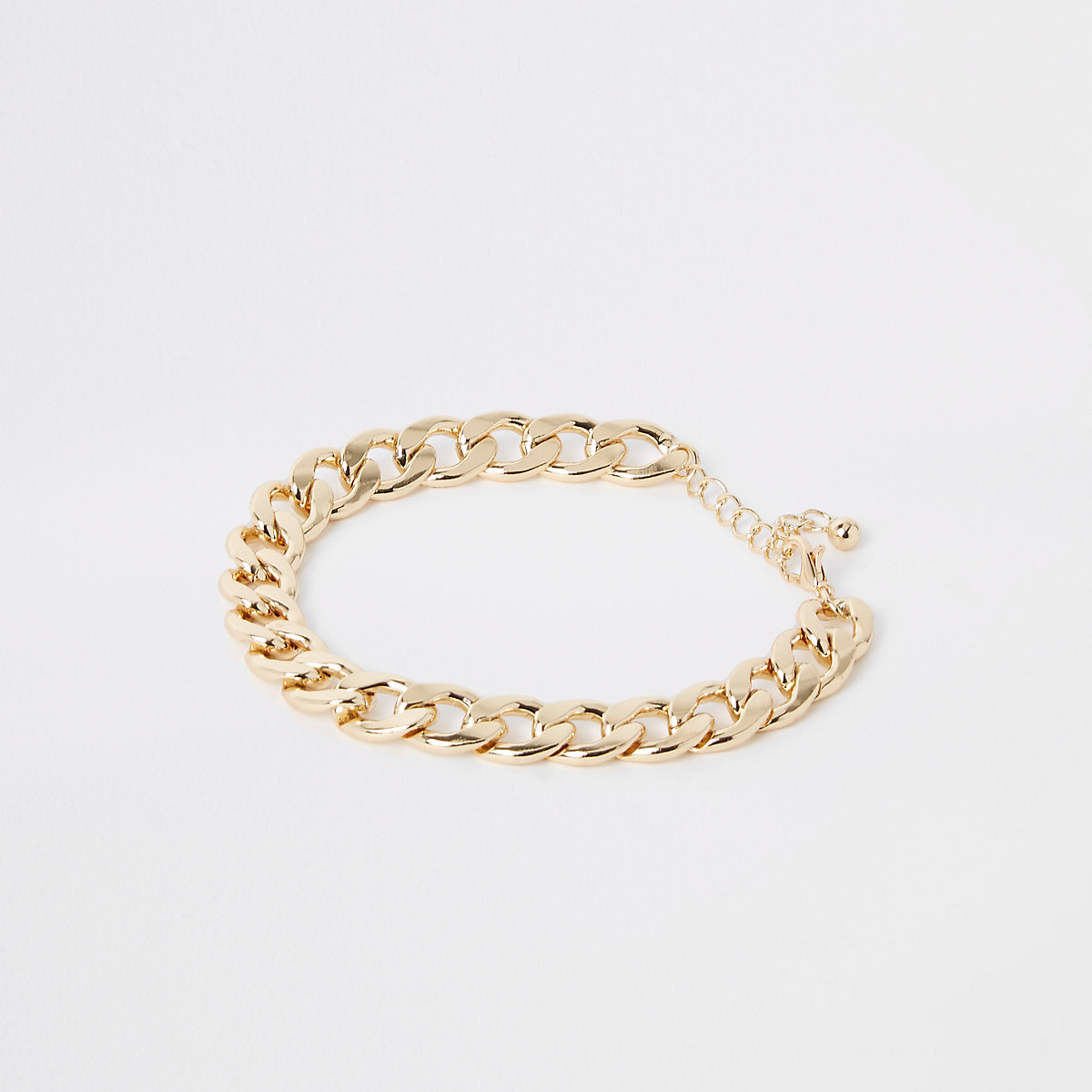 Gold color chunky curb chain anklet