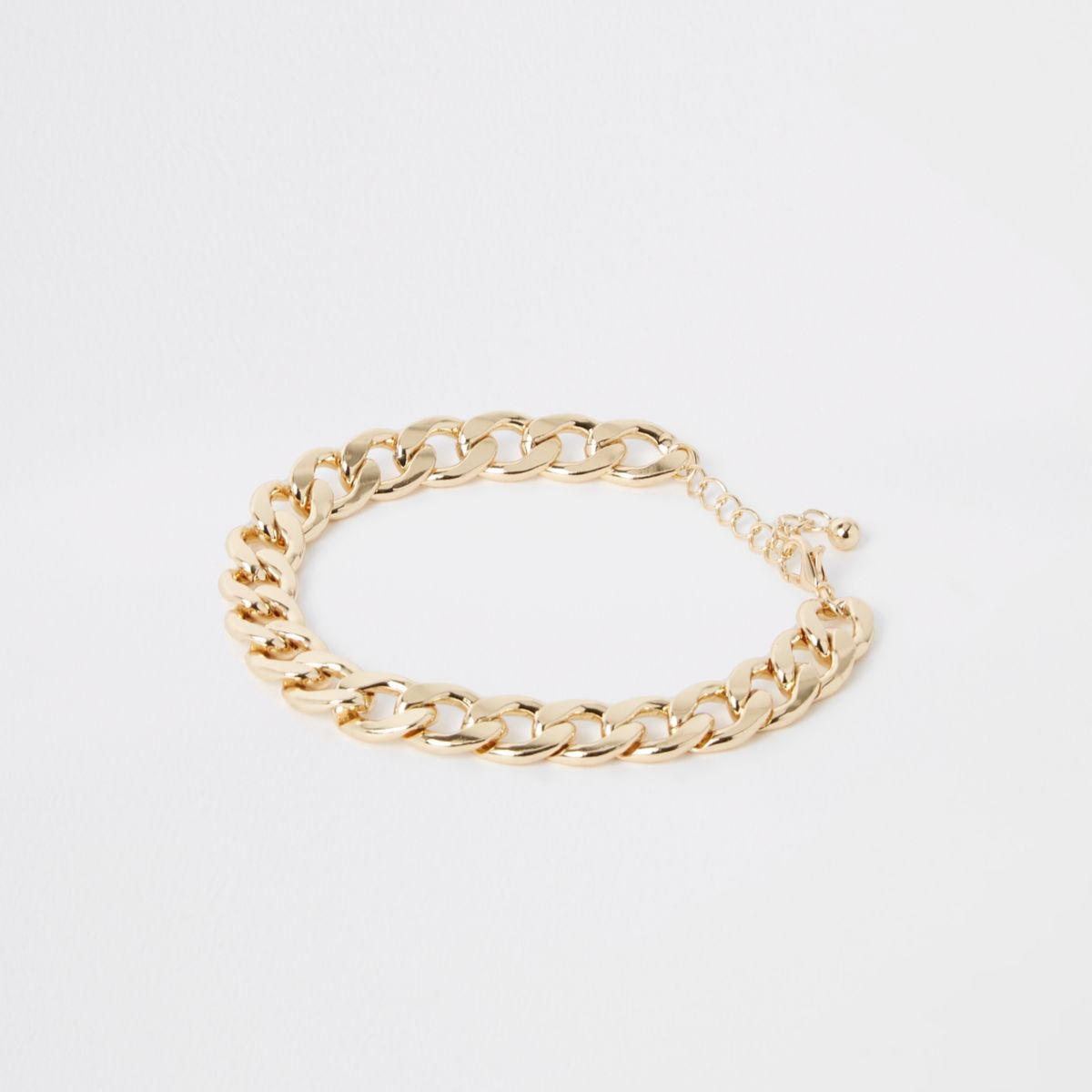 Gold tone chunky curb chain anklet