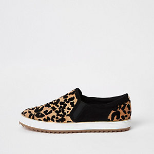 Brown leopard print slip on trainers