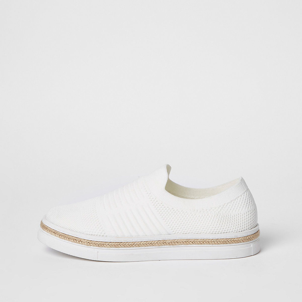 White knitted runner espadrille sneakers